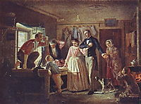 Courting an official to his daughter tailor , 1862, perov