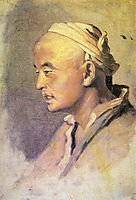Head of a Kirghiz. Sketch, 1869, perov