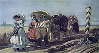 Journey of the quarterly family on a pilgrimage. Sketch, 1868, perov