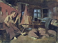 Night in the hut. Sketch for -Sleeping Children-, perov