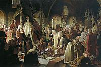 Nikita Pustosviat. Dispute on the Confession of Faith, 1881, perov