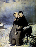 Orphans in the cemetery , 1864, perov