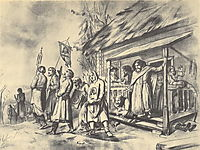 Procession on Easter. Sketch for the painting, 1860, perov