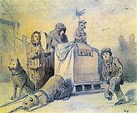 Street musicians in Paris , 1863, perov