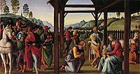 Altarpolyptychon, Predellatafel scene: Adoration of the Magi, 1496, perugino