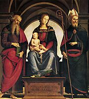 Lady in throne with Child between the saints and John Augustine, 1494, perugino