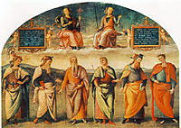 Prudence and Justice with Six Antique Wisemen, 1497, perugino