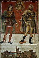 SaintsRoccoandRomanee in the viewof the town Deruta, 1478, perugino