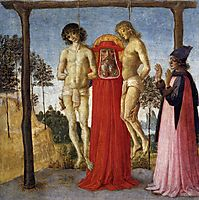 St. Jerome who attends two unfairly hanged, 1473, perugino
