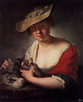 Girl with Pigeons, 1728, pesne