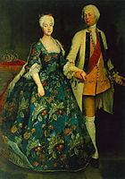 Princess Sophie Dorothea Marie with her husband, Frederick William, Margrave of Brandenburg Schwedt, 1734, pesne