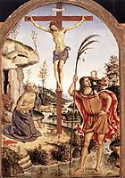 The Crucifixion with Sts. Jerome and Christopher, 1471, pinturicchio