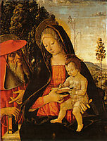 Madonna with Writing Child and St. Jerome, 1481, pinturicchio