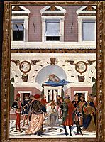 Painting cycle for the miracles of St. Bernard, scene: Healing the blind and deaf Riccardo Micuzio dall -Aquila, 1473, pinturicchio