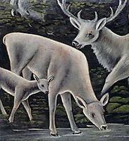 Deer family at waterhole, pirosmani
