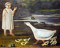 The girl and the goose with goslings, pirosmani