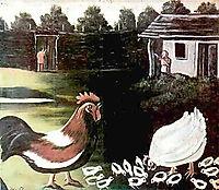 Hen with her chicks, pirosmani
