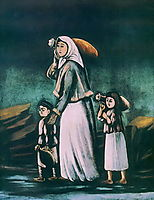 Peasant Woman with Children Goes for Water, pirosmani