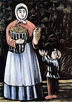 A peasant woman with her son, pirosmani