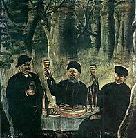 Razzle-dazzle of three urban dwellers in the forest, pirosmani