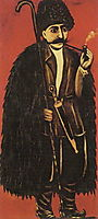 Shepherd in Burke, on a red background, pirosmani