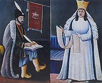 Shota Rustaveli and Queen Tamar, 1915, pirosmani