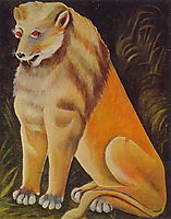 Sitting yellow lion, pirosmani