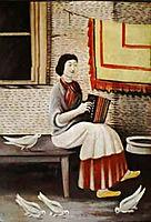 Sona Gorashvili plays accordion, 1898, pirosmani