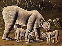 The white bear with cubs, c.1910, pirosmani