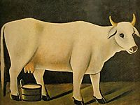 White cow on a black background, pirosmani