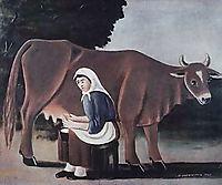 Woman milks a cow, 1916, pirosmani
