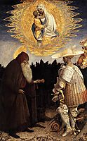 Apparition of the Virgin to Sts Anthony Abbot and George, pisanello