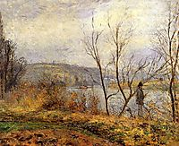 The Banks of the Oise, Pontoise (also known as Man Fishing), 1878, pissarro
