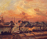 Boats Sunset - Rouen, 1898, pissarro