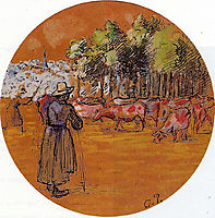 Cowherds, Bazincourt, c.1890, pissarro