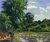 Ducks on the Pond at Montfoucault, c.1874, pissarro