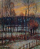 The Effect of Snow, Sunset, Eragny, 1895, pissarro