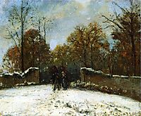 Entering the Forest of Marly (Snow Effect), c.1869, pissarro