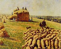 Flock of Sheep in a Field after the Harvest, 1889, pissarro