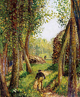 Forest scene with two figures, pissarro