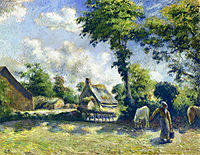 Landscape at Melleray, Woman Carrying Water to Horses, 1881, pissarro
