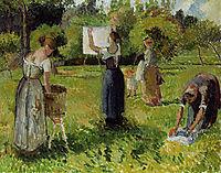 Laundresses at Eragny, c.1901, pissarro