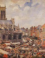 The Market Surrounding the Church of Saint-Jacques, Dieppe, 1901, pissarro