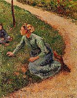Peasant Trimming the Lawn, 1882, pissarro