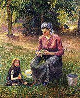 Peasant Woman and Child, Eragny, 1893, pissarro