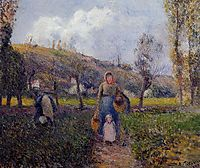 Peasant Woman and Child Harvesting the Fields, Pontoise, 1882, pissarro