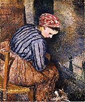 Peasant Woman Warming Herself, 1883, pissarro
