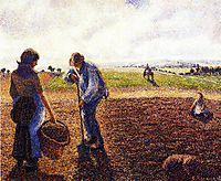 Peasants in the Field, Eragny, 1890, pissarro