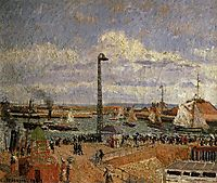 The Pilot-s Jetty, Le Havre High Tide, Afternoon Sun, 1903, pissarro