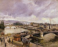 The Pont Boieldieu, Rouen, Rain Effect, 1896, pissarro